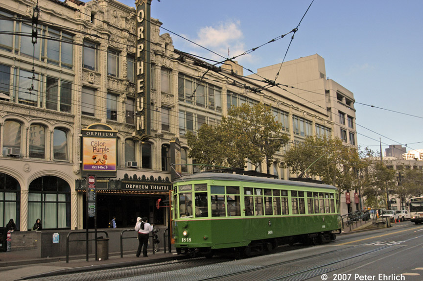 (229k, 864x574)<br><b>Country:</b> United States<br><b>City:</b> San Francisco/Bay Area, CA<br><b>System:</b> SF MUNI<br><b>Location:</b> Market/8th/Hyde/Grove/Civic Ctr. <br><b>Car:</b> Milan Milano/Peter Witt (1927-1930)  1818 <br><b>Photo by:</b> Peter Ehrlich<br><b>Date:</b> 11/9/2007<br><b>Notes:</b> Market/8th Street outbound.<br><b>Viewed (this week/total):</b> 0 / 431