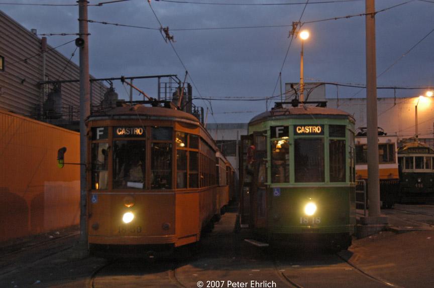 (146k, 864x574)<br><b>Country:</b> United States<br><b>City:</b> San Francisco/Bay Area, CA<br><b>System:</b> SF MUNI<br><b>Location:</b> Geneva Yard <br><b>Car:</b> Milan Milano/Peter Witt (1927-1930)  1859 <br><b>Photo by:</b> Peter Ehrlich<br><b>Date:</b> 11/9/2007<br><b>Notes:</b> Geneva Yard.  With 1818 (1929 2-tone green).<br><b>Viewed (this week/total):</b> 0 / 328