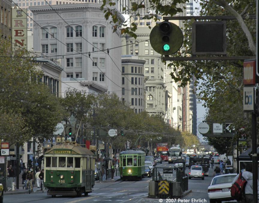 (250k, 864x679)<br><b>Country:</b> United States<br><b>City:</b> San Francisco/Bay Area, CA<br><b>System:</b> SF MUNI<br><b>Location:</b> Market/7th <br><b>Car:</b> Melbourne W2 Class (1923-1931)  496 <br><b>Photo by:</b> Peter Ehrlich<br><b>Date:</b> 11/9/2007<br><b>Notes:</b> Market/7th Street outbound.  With 1818 (1929 2-tone green) outbound, behind.<br><b>Viewed (this week/total):</b> 1 / 640