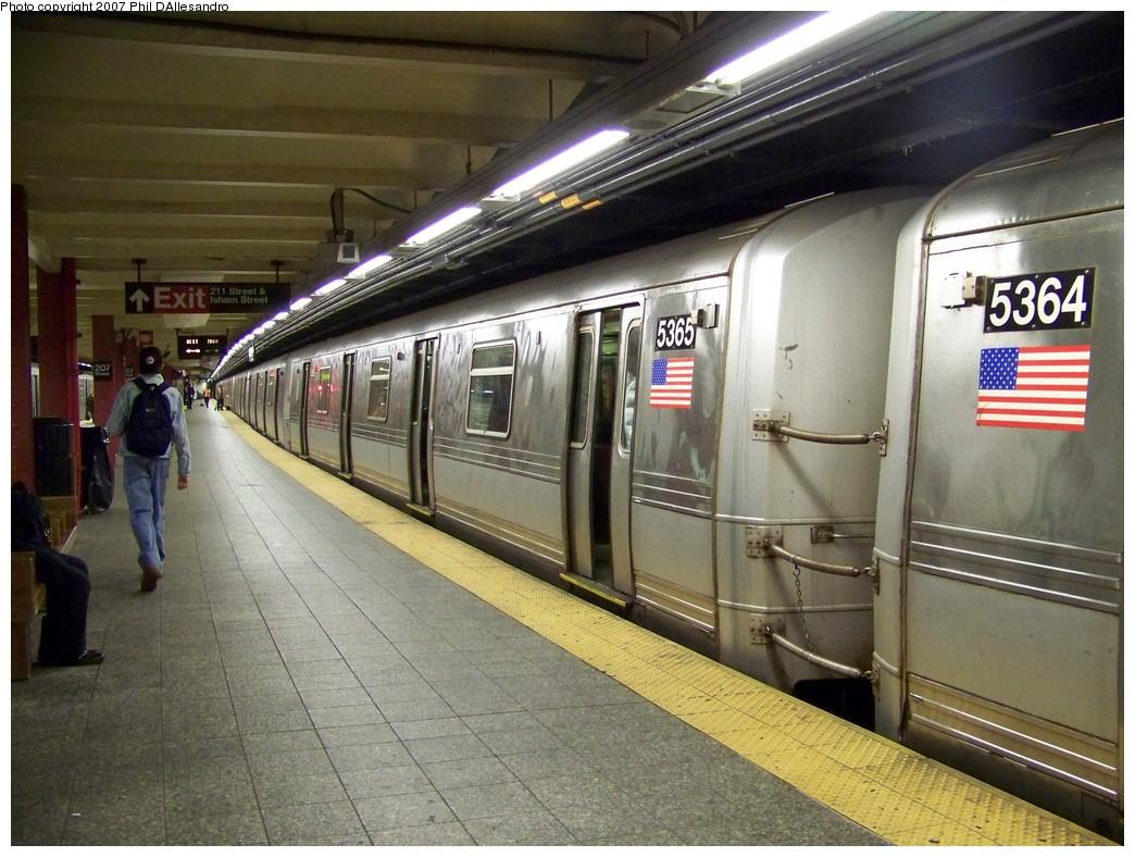 (232k, 1044x788)<br><b>Country:</b> United States<br><b>City:</b> New York<br><b>System:</b> New York City Transit<br><b>Line:</b> IND 8th Avenue Line<br><b>Location:</b> 207th Street <br><b>Route:</b> A<br><b>Car:</b> R-44 (St. Louis, 1971-73) 5365 <br><b>Photo by:</b> Philip D'Allesandro<br><b>Date:</b> 11/12/2007<br><b>Viewed (this week/total):</b> 0 / 2165