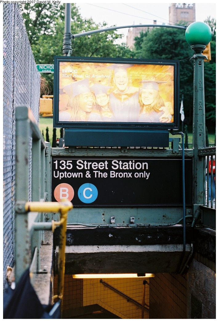 (207k, 712x1044)<br><b>Country:</b> United States<br><b>City:</b> New York<br><b>System:</b> New York City Transit<br><b>Line:</b> IND 8th Avenue Line<br><b>Location:</b> 135th Street <br><b>Photo by:</b> David M. Kelly<br><b>Date:</b> 2007<br><b>Notes:</b> Station entrance.<br><b>Viewed (this week/total):</b> 0 / 2738