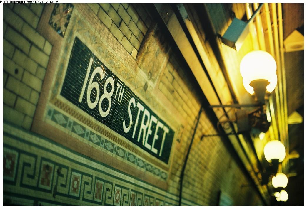 (202k, 1044x712)<br><b>Country:</b> United States<br><b>City:</b> New York<br><b>System:</b> New York City Transit<br><b>Line:</b> IRT West Side Line<br><b>Location:</b> 168th Street <br><b>Photo by:</b> David M. Kelly<br><b>Date:</b> 2007<br><b>Viewed (this week/total):</b> 0 / 1409