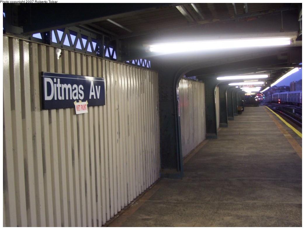 (162k, 1044x790)<br><b>Country:</b> United States<br><b>City:</b> New York<br><b>System:</b> New York City Transit<br><b>Line:</b> BMT Culver Line<br><b>Location:</b> Ditmas Avenue <br><b>Photo by:</b> Roberto C. Tobar<br><b>Date:</b> 11/10/2007<br><b>Viewed (this week/total):</b> 0 / 1033