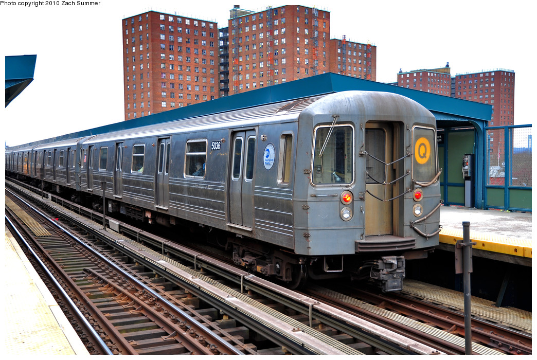 (317k, 1044x700)<br><b>Country:</b> United States<br><b>City:</b> New York<br><b>System:</b> New York City Transit<br><b>Line:</b> BMT Brighton Line<br><b>Location:</b> West 8th Street <br><b>Route:</b> Q<br><b>Car:</b> R-68A (Kawasaki, 1988-1989)  5036 <br><b>Photo by:</b> Zach Summer<br><b>Date:</b> 3/10/2010<br><b>Viewed (this week/total):</b> 0 / 1285