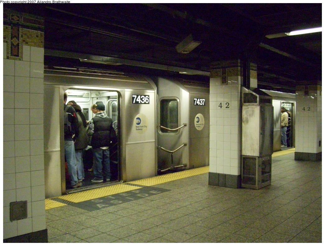 (260k, 1044x791)<br><b>Country:</b> United States<br><b>City:</b> New York<br><b>System:</b> New York City Transit<br><b>Line:</b> IRT East Side Line<br><b>Location:</b> Grand Central <br><b>Route:</b> 6<br><b>Car:</b> R-142A (Primary Order, Kawasaki, 1999-2002)  7437 <br><b>Photo by:</b> Aliandro Brathwaite<br><b>Date:</b> 11/20/2007<br><b>Viewed (this week/total):</b> 0 / 3113