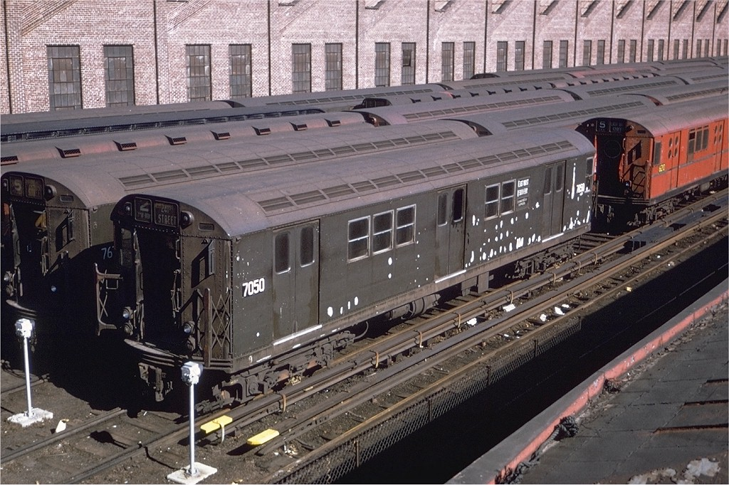 (240k, 1024x681)<br><b>Country:</b> United States<br><b>City:</b> New York<br><b>System:</b> New York City Transit<br><b>Location:</b> East 180th Street Yard<br><b>Car:</b> R-21 (St. Louis, 1956-57) 7050 <br><b>Collection of:</b> Joe Testagrose<br><b>Viewed (this week/total):</b> 4 / 2083