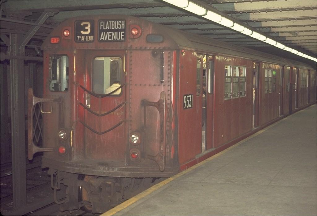 (166k, 1024x700)<br><b>Country:</b> United States<br><b>City:</b> New York<br><b>System:</b> New York City Transit<br><b>Line:</b> IRT West Side Line<br><b>Location:</b> 72nd Street <br><b>Route:</b> 3<br><b>Car:</b> R-36 Main Line (St. Louis, 1964) 9531 <br><b>Photo by:</b> Joe Testagrose<br><b>Date:</b> 4/9/1970<br><b>Viewed (this week/total):</b> 0 / 1823
