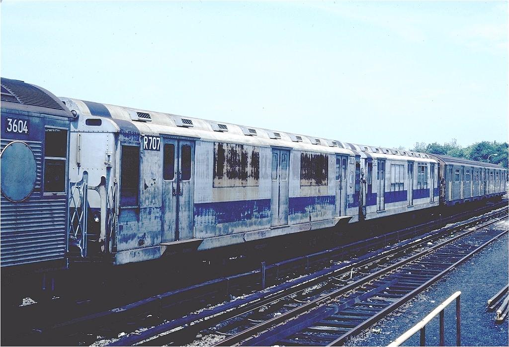 (231k, 1024x698)<br><b>Country:</b> United States<br><b>City:</b> New York<br><b>System:</b> New York City Transit<br><b>Location:</b> Jamaica Yard/Shops<br><b>Car:</b> R-12 (American Car & Foundry, 1948) R707 (ex-5779)<br><b>Photo by:</b> Steve Zabel<br><b>Collection of:</b> Joe Testagrose<br><b>Date:</b> 6/22/1981<br><b>Viewed (this week/total):</b> 1 / 2512