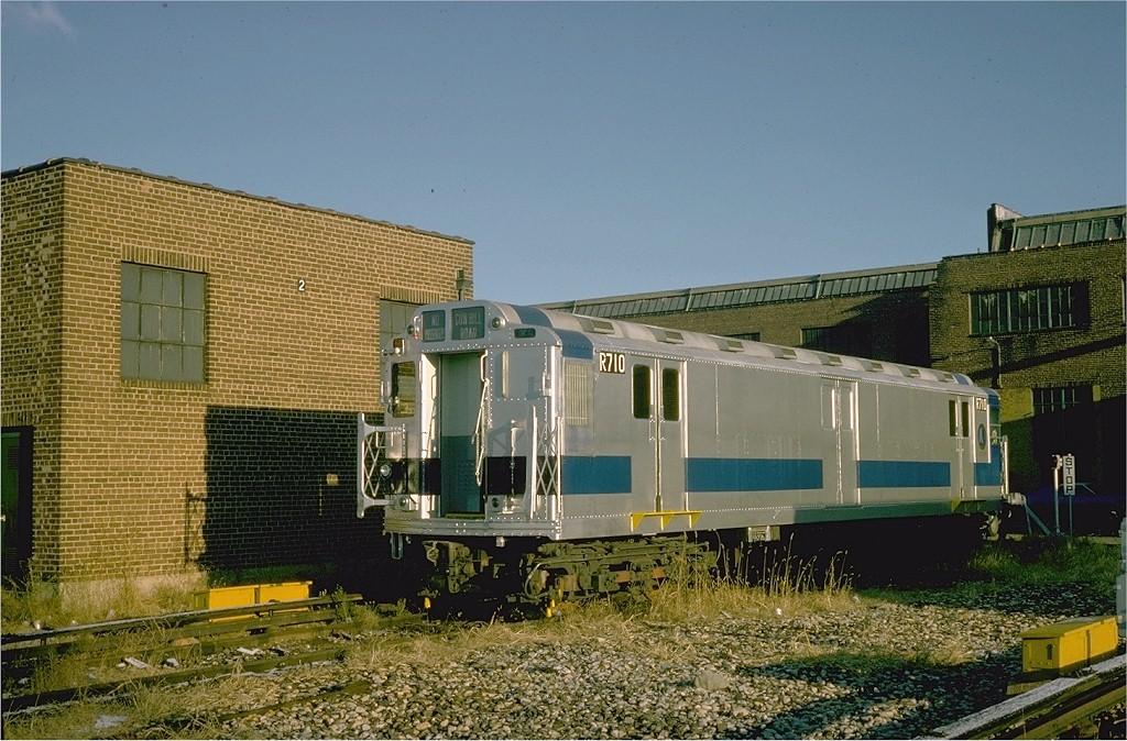 (234k, 1024x674)<br><b>Country:</b> United States<br><b>City:</b> New York<br><b>System:</b> New York City Transit<br><b>Location:</b> 207th Street Yard<br><b>Car:</b> R-12 (American Car & Foundry, 1948) R710 (ex-5762)<br><b>Photo by:</b> Steve Zabel<br><b>Collection of:</b> Joe Testagrose<br><b>Date:</b> 11/26/1974<br><b>Viewed (this week/total):</b> 4 / 2315