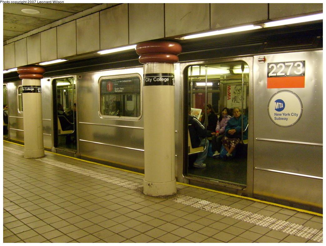 (273k, 1044x788)<br><b>Country:</b> United States<br><b>City:</b> New York<br><b>System:</b> New York City Transit<br><b>Line:</b> IRT West Side Line<br><b>Location:</b> 137th Street/City College <br><b>Route:</b> 1<br><b>Car:</b> R-62A (Bombardier, 1984-1987)  2273 <br><b>Photo by:</b> Leonard Wilson<br><b>Date:</b> 11/21/2007<br><b>Viewed (this week/total):</b> 3 / 4006