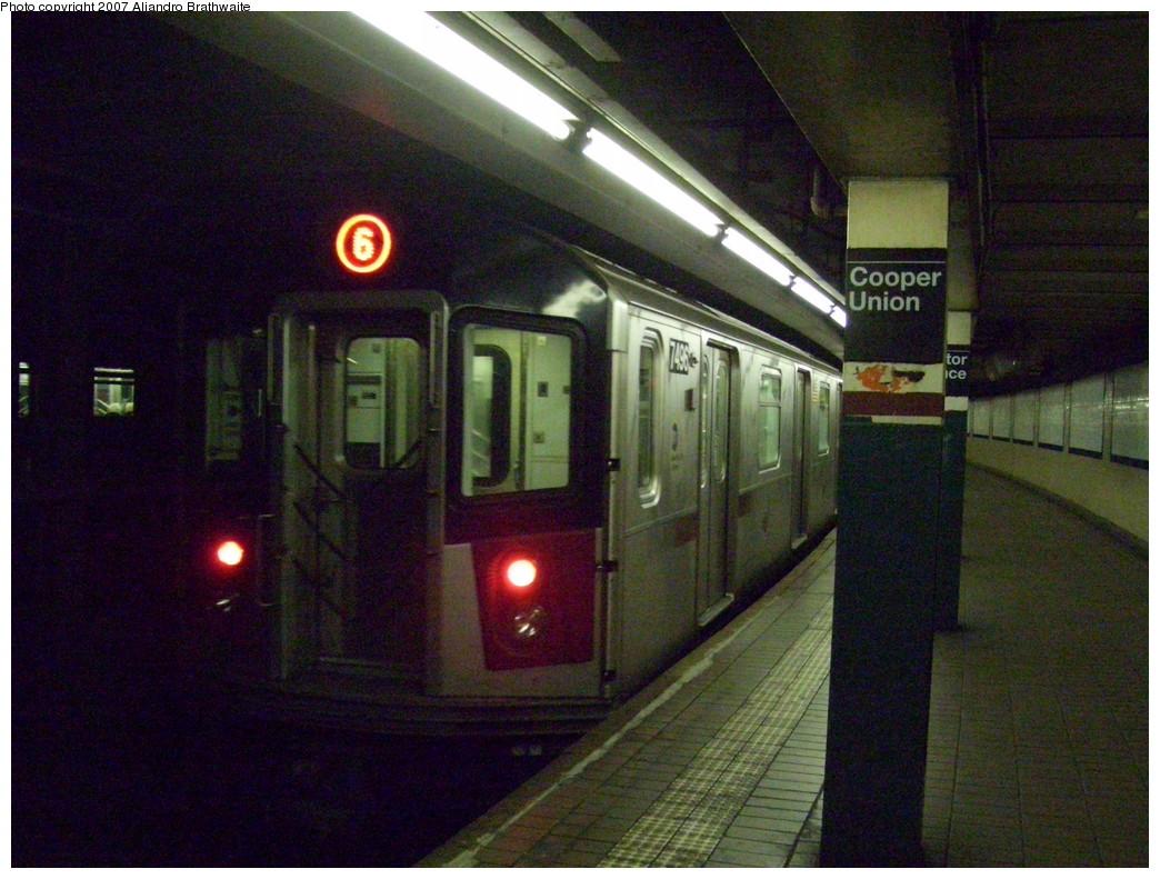 (254k, 1044x791)<br><b>Country:</b> United States<br><b>City:</b> New York<br><b>System:</b> New York City Transit<br><b>Line:</b> IRT East Side Line<br><b>Location:</b> Astor Place <br><b>Route:</b> 6<br><b>Car:</b> R-142A (Primary Order, Kawasaki, 1999-2002)  7496 <br><b>Photo by:</b> Aliandro Brathwaite<br><b>Date:</b> 11/23/2007<br><b>Viewed (this week/total):</b> 1 / 2051