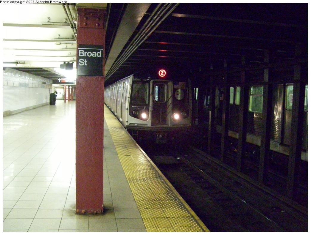(245k, 1044x791)<br><b>Country:</b> United States<br><b>City:</b> New York<br><b>System:</b> New York City Transit<br><b>Line:</b> BMT Nassau Street/Jamaica Line<br><b>Location:</b> Broad Street <br><b>Route:</b> Z<br><b>Car:</b> R-160A-1 (Alstom, 2005-2008, 4 car sets)  8321 <br><b>Photo by:</b> Aliandro Brathwaite<br><b>Date:</b> 11/23/2007<br><b>Viewed (this week/total):</b> 2 / 3679