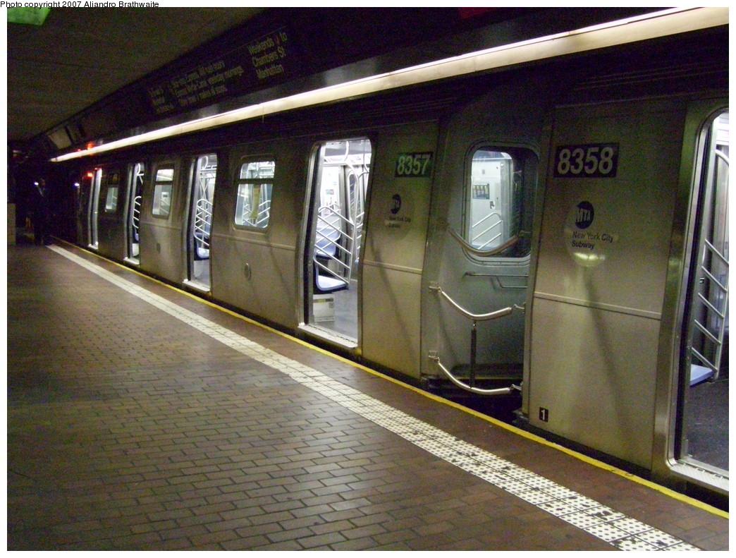 (279k, 1044x791)<br><b>Country:</b> United States<br><b>City:</b> New York<br><b>System:</b> New York City Transit<br><b>Line:</b> BMT Nassau Street/Jamaica Line<br><b>Location:</b> Jamaica Center/Parsons-Archer <br><b>Route:</b> Z<br><b>Car:</b> R-160A-1 (Alstom, 2005-2008, 4 car sets)  8358 <br><b>Photo by:</b> Aliandro Brathwaite<br><b>Date:</b> 11/23/2007<br><b>Viewed (this week/total):</b> 3 / 2784