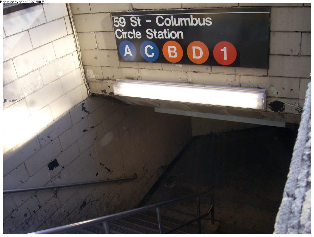 (194k, 1044x788)<br><b>Country:</b> United States<br><b>City:</b> New York<br><b>System:</b> New York City Transit<br><b>Line:</b> IND 8th Avenue Line<br><b>Location:</b> 59th Street/Columbus Circle <br><b>Photo by:</b> Bill E.<br><b>Date:</b> 11/24/2007<br><b>Notes:</b> Station entrance. Undergoing renovation.<br><b>Viewed (this week/total):</b> 0 / 2531