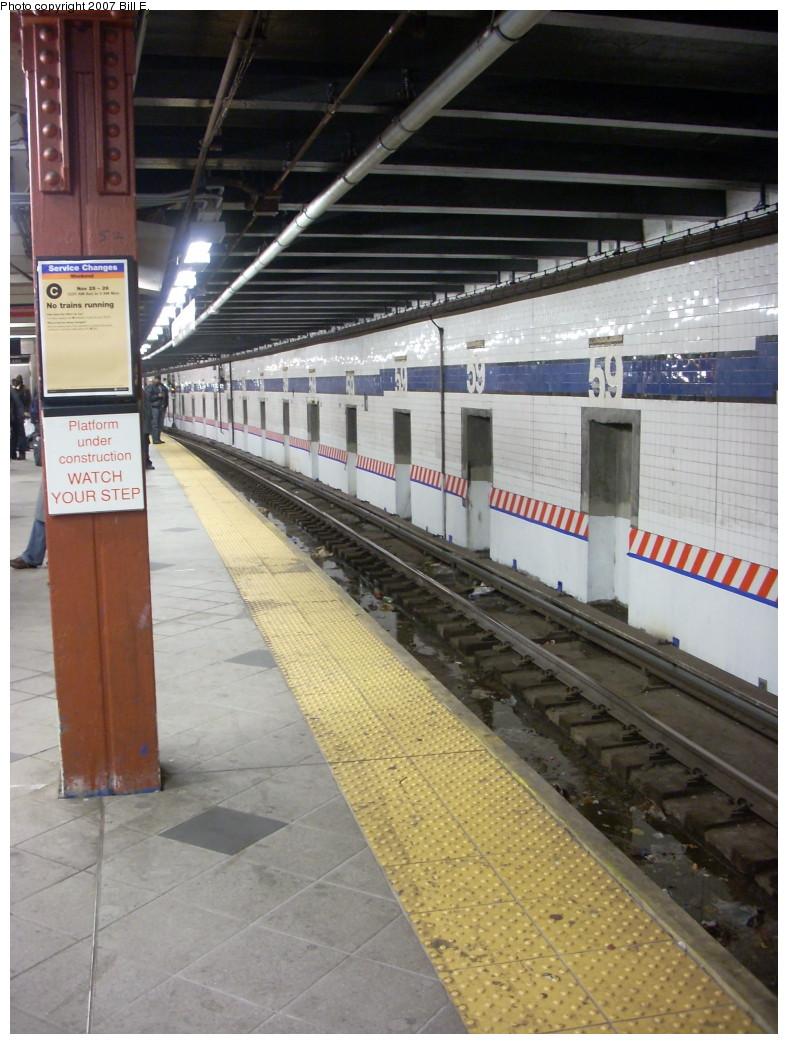 (247k, 788x1044)<br><b>Country:</b> United States<br><b>City:</b> New York<br><b>System:</b> New York City Transit<br><b>Line:</b> IND 8th Avenue Line<br><b>Location:</b> 59th Street/Columbus Circle <br><b>Photo by:</b> Bill E.<br><b>Date:</b> 11/24/2007<br><b>Notes:</b> Undergoing renovation.<br><b>Viewed (this week/total):</b> 1 / 2195