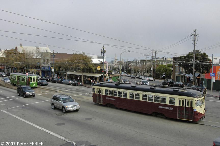 (160k, 864x574)<br><b>Country:</b> United States<br><b>City:</b> San Francisco/Bay Area, CA<br><b>System:</b> SF MUNI<br><b>Location:</b> Market/16th/Noe <br><b>Car:</b> SF MUNI PCC Torpedo Double-End (St. Louis Car Co., 1948)  1007 <br><b>Photo by:</b> Peter Ehrlich<br><b>Date:</b> 11/17/2007<br><b>Notes:</b> Market/Noe/15th Street outbound.  With 1818 (Milan 1929 2-tone green) following.<br><b>Viewed (this week/total):</b> 1 / 635