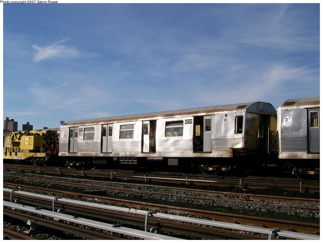 (207k, 1044x788)<br><b>Country:</b> United States<br><b>City:</b> New York<br><b>System:</b> New York City Transit<br><b>Location:</b> 207th Street Yard<br><b>Car:</b> R-42 (St. Louis, 1969-1970)  4731 <br><b>Photo by:</b> Glenn L. Rowe<br><b>Date:</b> 11/28/2007<br><b>Notes:</b> Cars involved in bumper block hit at Chambers Street, 11/6/2007.<br><b>Viewed (this week/total):</b> 0 / 1884