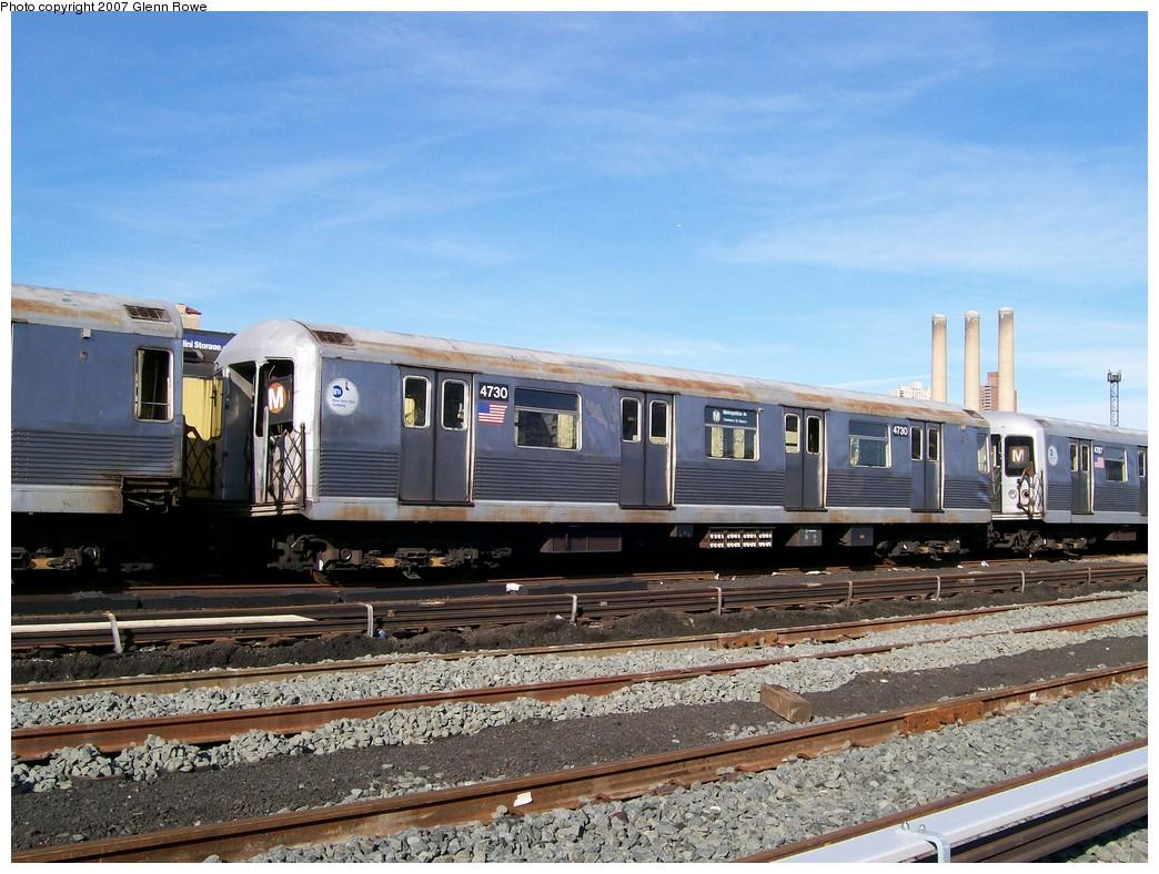 (239k, 1044x788)<br><b>Country:</b> United States<br><b>City:</b> New York<br><b>System:</b> New York City Transit<br><b>Location:</b> 207th Street Yard<br><b>Car:</b> R-42 (St. Louis, 1969-1970)  4730 <br><b>Photo by:</b> Glenn L. Rowe<br><b>Date:</b> 11/28/2007<br><b>Notes:</b> Cars involved in bumper block hit at Chambers Street, 11/6/2007.<br><b>Viewed (this week/total):</b> 1 / 1842