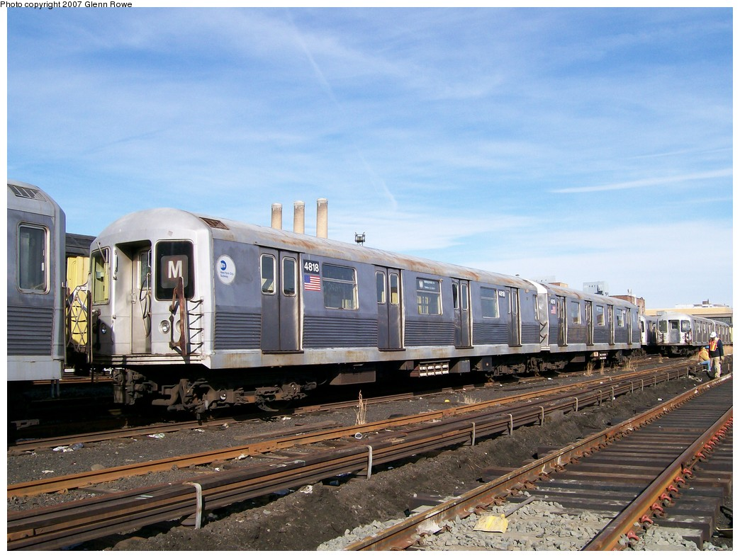 (220k, 1044x788)<br><b>Country:</b> United States<br><b>City:</b> New York<br><b>System:</b> New York City Transit<br><b>Location:</b> 207th Street Yard<br><b>Car:</b> R-42 (St. Louis, 1969-1970)  4818 <br><b>Photo by:</b> Glenn L. Rowe<br><b>Date:</b> 11/28/2007<br><b>Notes:</b> Cars involved in bumper block hit at Chambers Street, 11/6/2007.<br><b>Viewed (this week/total):</b> 4 / 2737