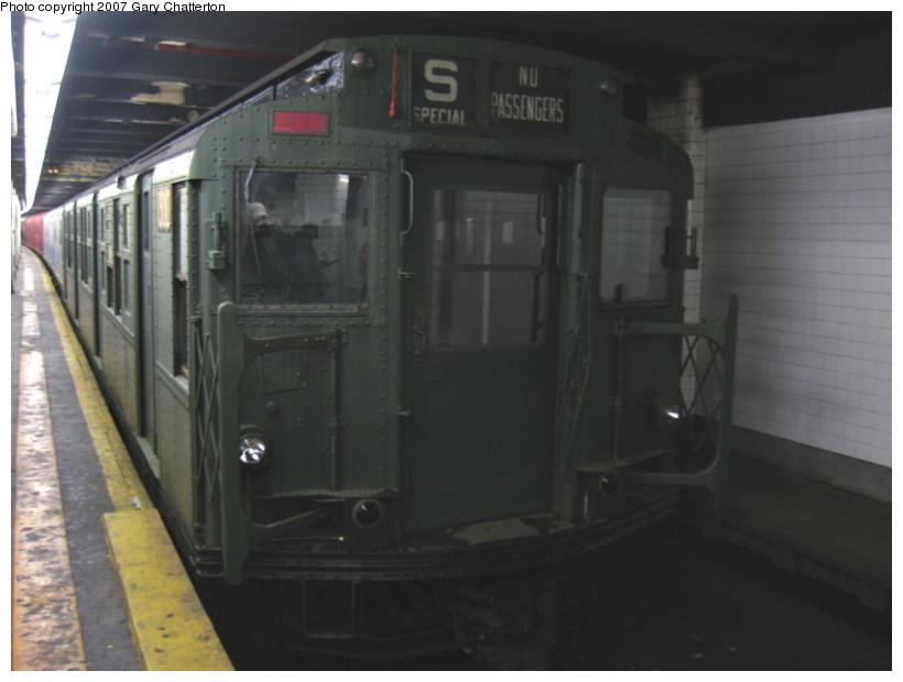 (87k, 820x620)<br><b>Country:</b> United States<br><b>City:</b> New York<br><b>System:</b> New York City Transit<br><b>Line:</b> IND Fulton Street Line<br><b>Location:</b> Hoyt-Schermerhorn Street <br><b>Car:</b> R-6-1 (Pressed Steel, 1936)  1300 <br><b>Photo by:</b> Gary Chatterton<br><b>Date:</b> 11/26/2007<br><b>Notes:</b> Trailing IRT SMEE museum train--museum equipment move.<br><b>Viewed (this week/total):</b> 1 / 3254