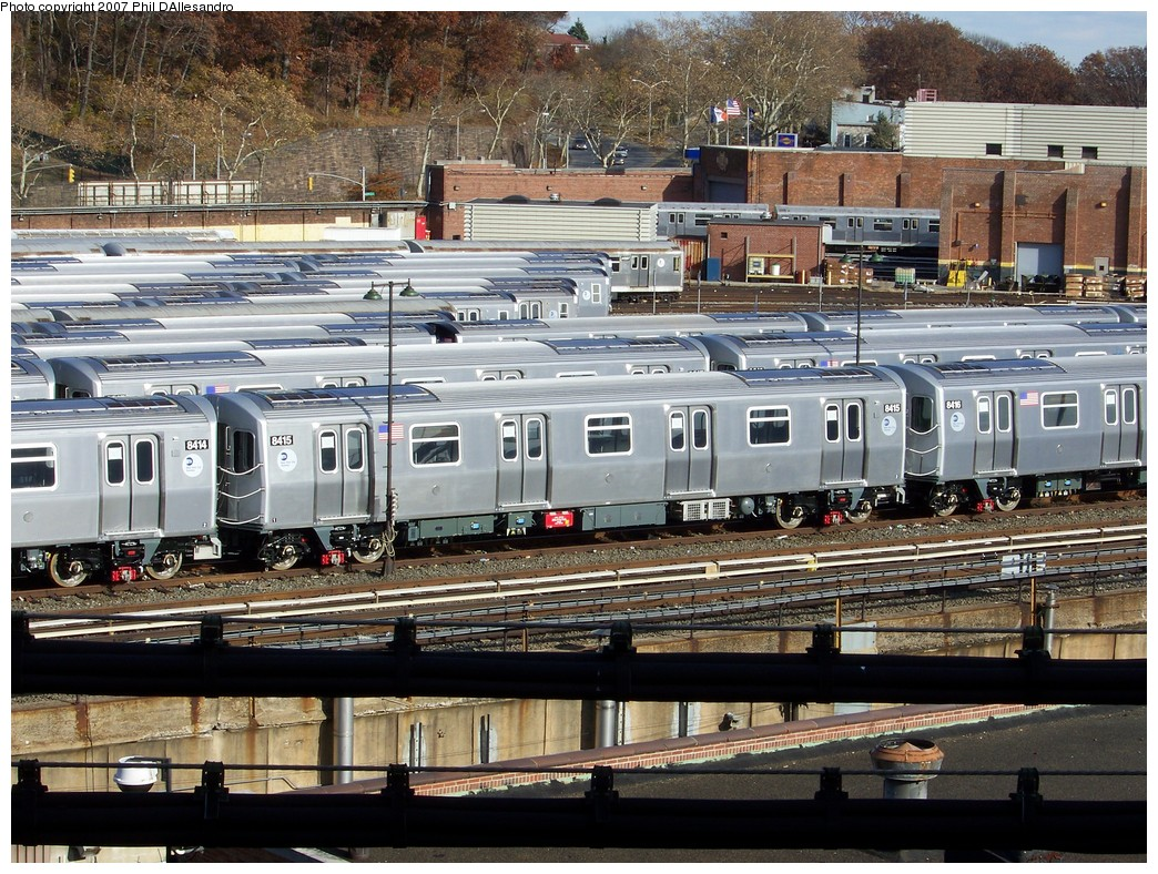 (320k, 1044x788)<br><b>Country:</b> United States<br><b>City:</b> New York<br><b>System:</b> New York City Transit<br><b>Location:</b> East New York Yard/Shops<br><b>Car:</b> R-160A-1 (Alstom, 2005-2008, 4 car sets)  8415 <br><b>Photo by:</b> Philip D'Allesandro<br><b>Date:</b> 12/1/2007<br><b>Viewed (this week/total):</b> 0 / 2085