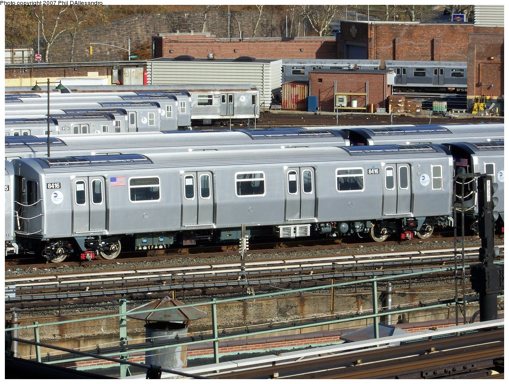 (334k, 1044x788)<br><b>Country:</b> United States<br><b>City:</b> New York<br><b>System:</b> New York City Transit<br><b>Location:</b> East New York Yard/Shops<br><b>Car:</b> R-160A-1 (Alstom, 2005-2008, 4 car sets)  8416 <br><b>Photo by:</b> Philip D'Allesandro<br><b>Date:</b> 12/1/2007<br><b>Viewed (this week/total):</b> 0 / 2592