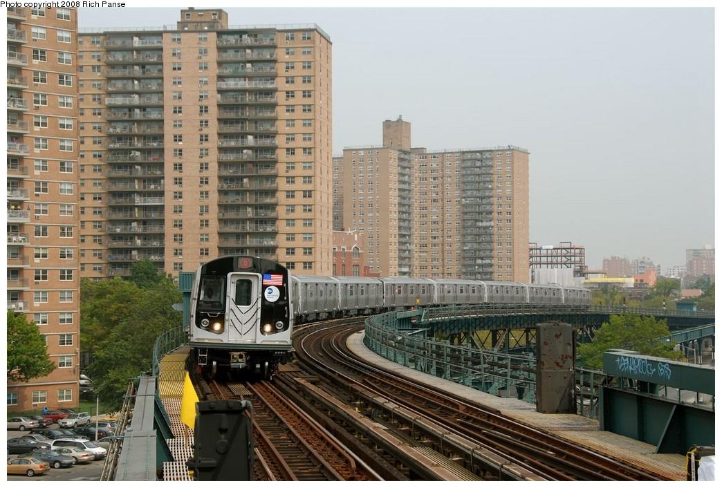 (226k, 1044x706)<br><b>Country:</b> United States<br><b>City:</b> New York<br><b>System:</b> New York City Transit<br><b>Line:</b> BMT Brighton Line<br><b>Location:</b> West 8th Street <br><b>Route:</b> Q<br><b>Car:</b> R-160B (Option 1) (Kawasaki, 2008-2009)  9037 <br><b>Photo by:</b> Richard Panse<br><b>Date:</b> 9/13/2008<br><b>Viewed (this week/total):</b> 3 / 2663