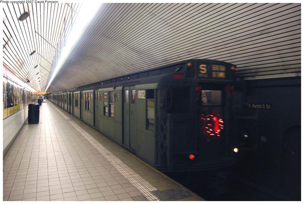 (307k, 1044x701)<br><b>Country:</b> United States<br><b>City:</b> New York<br><b>System:</b> New York City Transit<br><b>Line:</b> IND Queens Boulevard Line<br><b>Location:</b> 5th Avenue/53rd Street <br><b>Route:</b> Museum Train Service (V)<br><b>Car:</b> R-9 (Pressed Steel, 1940)  1802 <br><b>Photo by:</b> David Pirmann<br><b>Date:</b> 12/9/2007<br><b>Notes:</b> Train in regular Nostalgia Train service, not technically a fan trip.<br><b>Viewed (this week/total):</b> 0 / 1719