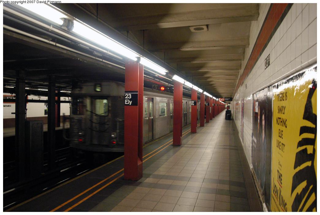 (258k, 1044x701)<br><b>Country:</b> United States<br><b>City:</b> New York<br><b>System:</b> New York City Transit<br><b>Line:</b> IND Queens Boulevard Line<br><b>Location:</b> Court Square/23rd St (Ely Avenue) <br><b>Route:</b> E<br><b>Car:</b> R-32 (Budd, 1964)   <br><b>Photo by:</b> David Pirmann<br><b>Date:</b> 12/9/2007<br><b>Viewed (this week/total):</b> 0 / 1954