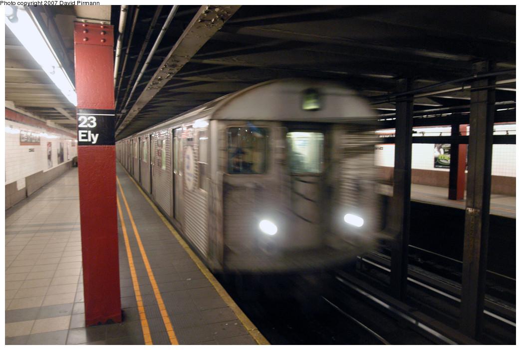 (240k, 1044x701)<br><b>Country:</b> United States<br><b>City:</b> New York<br><b>System:</b> New York City Transit<br><b>Line:</b> IND Queens Boulevard Line<br><b>Location:</b> Court Square/23rd St (Ely Avenue) <br><b>Route:</b> E<br><b>Car:</b> R-32 (Budd, 1964)   <br><b>Photo by:</b> David Pirmann<br><b>Date:</b> 12/9/2007<br><b>Viewed (this week/total):</b> 0 / 2105