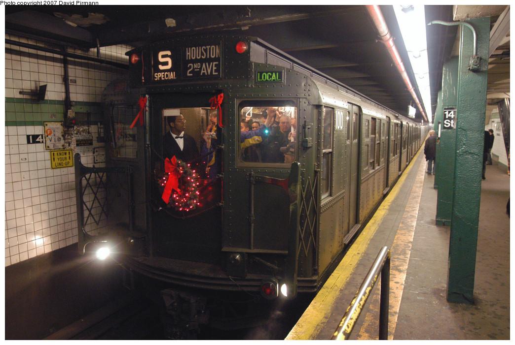 (283k, 1044x701)<br><b>Country:</b> United States<br><b>City:</b> New York<br><b>System:</b> New York City Transit<br><b>Line:</b> IND 6th Avenue Line<br><b>Location:</b> 14th Street <br><b>Route:</b> Museum Train Service (V)<br><b>Car:</b> R-1 (American Car & Foundry, 1930-1931) 100 <br><b>Photo by:</b> David Pirmann<br><b>Date:</b> 12/9/2007<br><b>Notes:</b> Train in regular Nostalgia Train service, not technically a fan trip.<br><b>Viewed (this week/total):</b> 0 / 2158