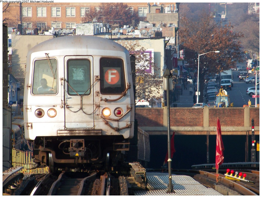 (259k, 1044x789)<br><b>Country:</b> United States<br><b>City:</b> New York<br><b>System:</b> New York City Transit<br><b>Line:</b> BMT Culver Line<br><b>Location:</b> Ditmas Avenue <br><b>Route:</b> F<br><b>Car:</b> R-46 (Pullman-Standard, 1974-75) 5820 <br><b>Photo by:</b> Michael Hodurski<br><b>Date:</b> 12/8/2007<br><b>Viewed (this week/total):</b> 0 / 2182