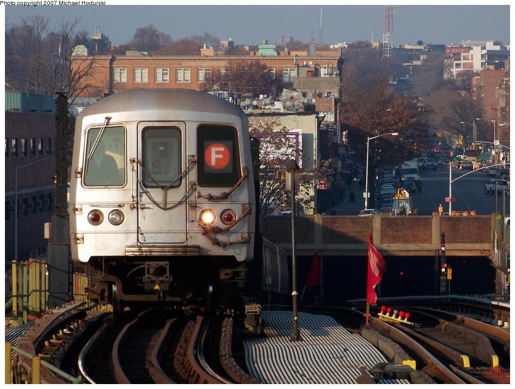 (254k, 1044x789)<br><b>Country:</b> United States<br><b>City:</b> New York<br><b>System:</b> New York City Transit<br><b>Line:</b> BMT Culver Line<br><b>Location:</b> Ditmas Avenue <br><b>Route:</b> F<br><b>Car:</b> R-46 (Pullman-Standard, 1974-75) 6024 <br><b>Photo by:</b> Michael Hodurski<br><b>Date:</b> 12/8/2007<br><b>Viewed (this week/total):</b> 0 / 2019