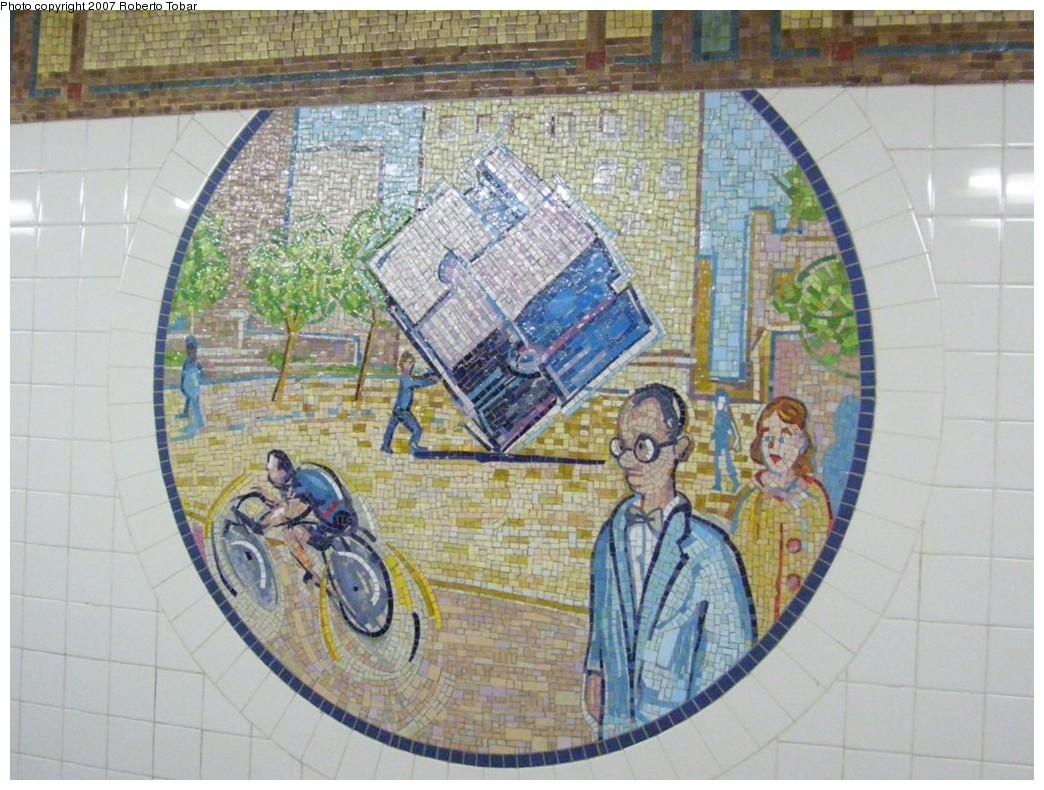 (234k, 1044x790)<br><b>Country:</b> United States<br><b>City:</b> New York<br><b>System:</b> New York City Transit<br><b>Line:</b> BMT Broadway Line<br><b>Location:</b> 8th Street <br><b>Photo by:</b> Roberto C. Tobar<br><b>Date:</b> 12/8/2007<br><b>Artwork:</b> <i>Broadway Diary</i>, Tim Snell (2002).<br><b>Viewed (this week/total):</b> 0 / 1443
