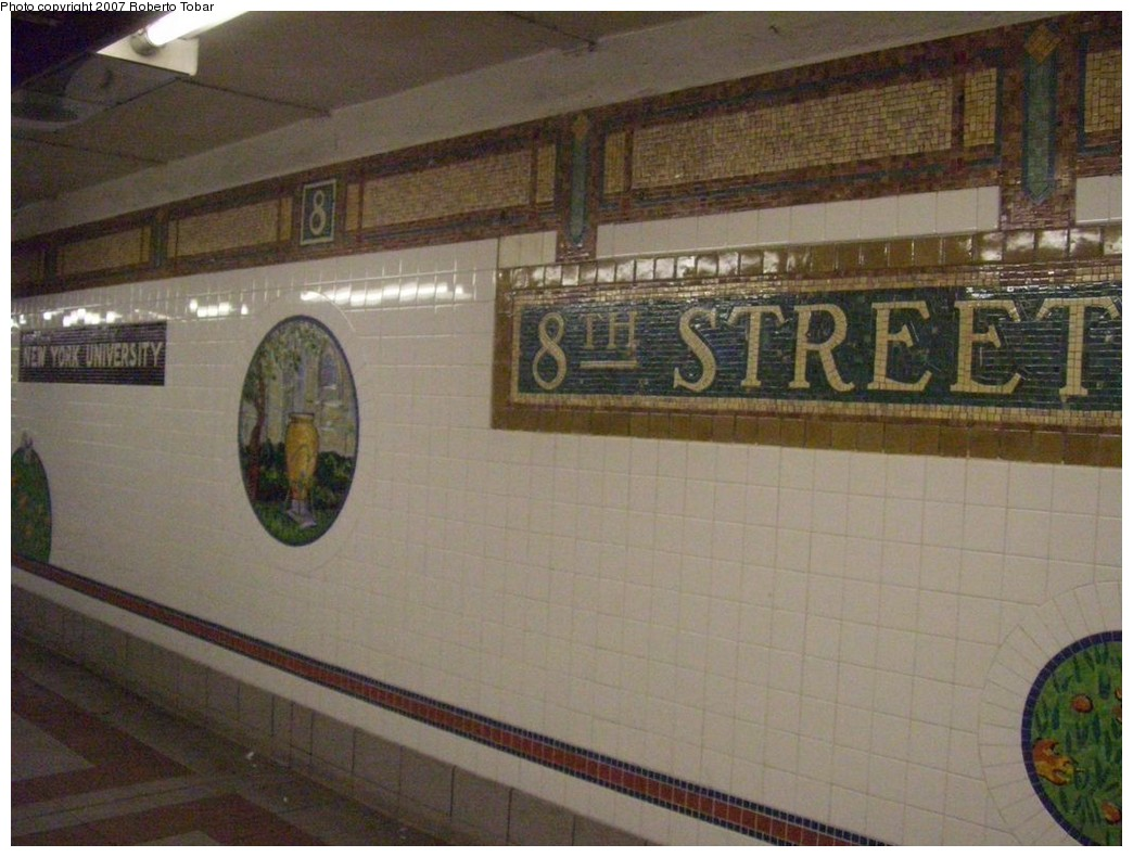 (201k, 1044x790)<br><b>Country:</b> United States<br><b>City:</b> New York<br><b>System:</b> New York City Transit<br><b>Line:</b> BMT Broadway Line<br><b>Location:</b> 8th Street <br><b>Photo by:</b> Roberto C. Tobar<br><b>Date:</b> 12/8/2007<br><b>Artwork:</b> <i>Broadway Diary</i>, Tim Snell (2002).<br><b>Viewed (this week/total):</b> 0 / 1439