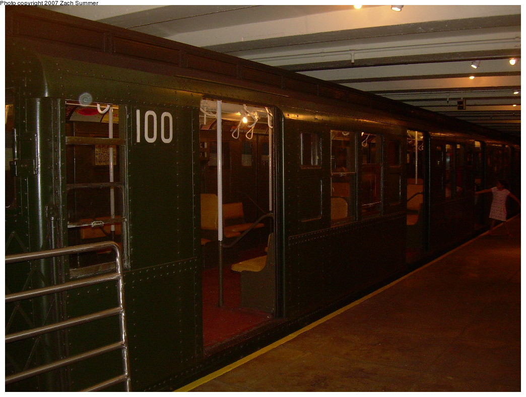 (242k, 1044x788)<br><b>Country:</b> United States<br><b>City:</b> New York<br><b>System:</b> New York City Transit<br><b>Location:</b> New York Transit Museum<br><b>Car:</b> R-1 (American Car & Foundry, 1930-1931) 100 <br><b>Photo by:</b> Zach Summer<br><b>Date:</b> 8/18/2007<br><b>Viewed (this week/total):</b> 1 / 1778
