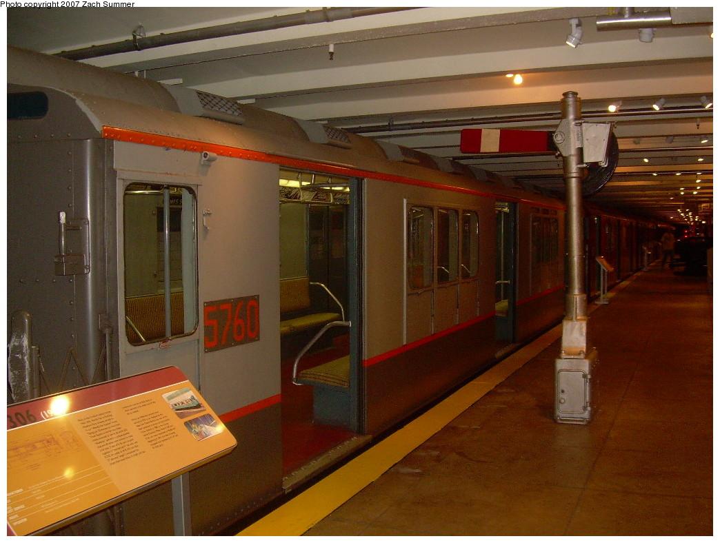 (257k, 1044x788)<br><b>Country:</b> United States<br><b>City:</b> New York<br><b>System:</b> New York City Transit<br><b>Location:</b> New York Transit Museum<br><b>Car:</b> R-12 (American Car & Foundry, 1948) 5760 <br><b>Photo by:</b> Zach Summer<br><b>Date:</b> 8/18/2007<br><b>Viewed (this week/total):</b> 0 / 1614