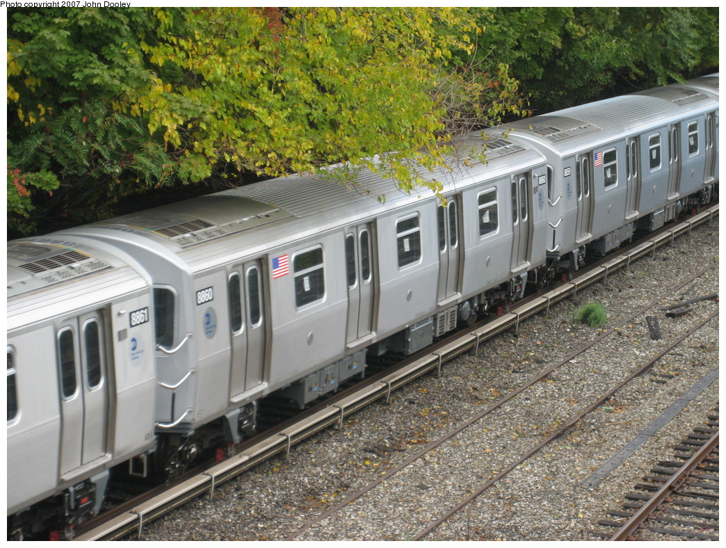 (322k, 1044x788)<br><b>Country:</b> United States<br><b>City:</b> New York<br><b>System:</b> New York City Transit<br><b>Line:</b> BMT Sea Beach Line<br><b>Location:</b> 13th Avenue Overpass <br><b>Route:</b> Testing<br><b>Car:</b> R-160B (Kawasaki, 2005-2008)  8860 <br><b>Photo by:</b> John Dooley<br><b>Date:</b> 11/6/2007<br><b>Viewed (this week/total):</b> 1 / 1872