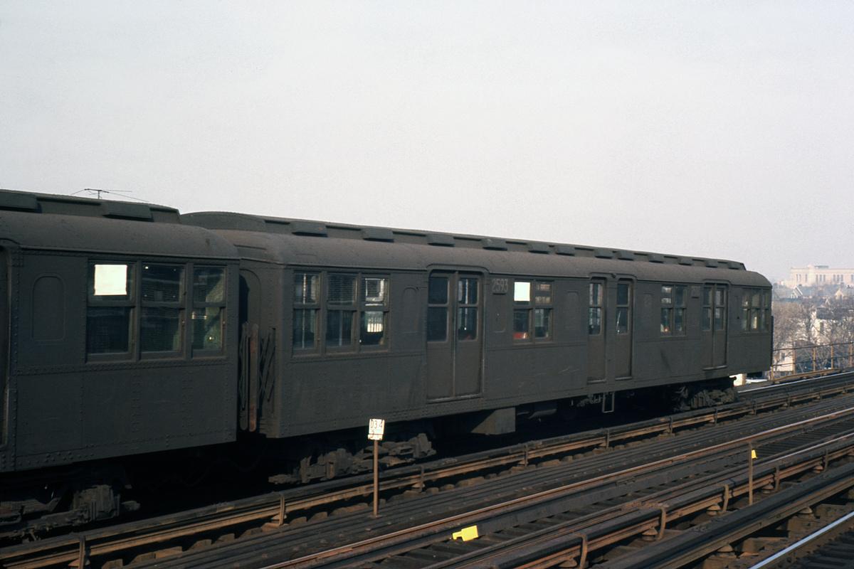 (323k, 1024x683)<br><b>Country:</b> United States<br><b>City:</b> New York<br><b>System:</b> New York City Transit<br><b>Line:</b> BMT West End Line<br><b>Car:</b> BMT A/B-Type Standard 2593 <br><b>Photo by:</b> Ed Davis, Sr.<br><b>Collection of:</b> David Pirmann<br><b>Date:</b> 12/1964<br><b>Viewed (this week/total):</b> 3 / 2553