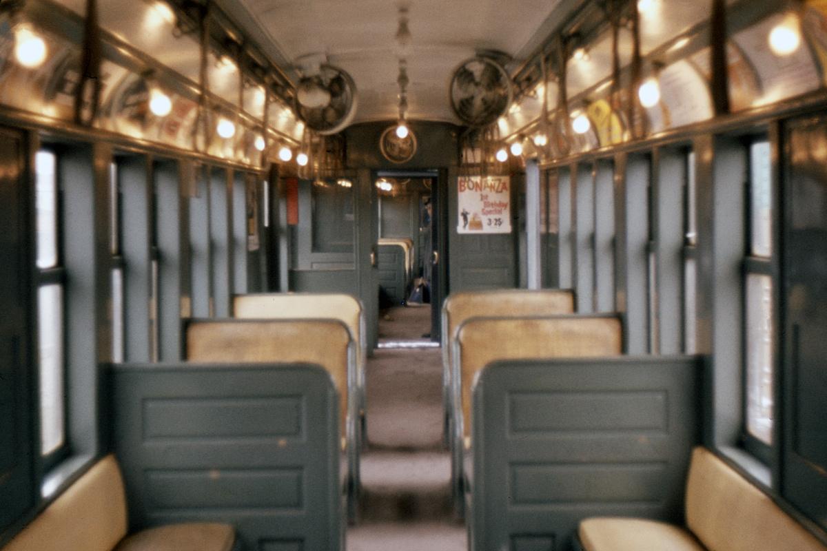 (298k, 1024x683)<br><b>Country:</b> United States<br><b>City:</b> New York<br><b>System:</b> New York City Transit<br><b>Car:</b> BMT Q Interior <br><b>Photo by:</b> Ed Davis, Sr.<br><b>Collection of:</b> David Pirmann<br><b>Date:</b> 2/1964<br><b>Viewed (this week/total):</b> 2 / 1542