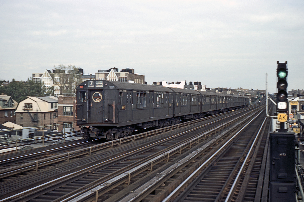 (411k, 1024x683)<br><b>Country:</b> United States<br><b>City:</b> New York<br><b>System:</b> New York City Transit<br><b>Line:</b> IRT Flushing Line<br><b>Location:</b> 74th Street/Broadway <br><b>Car:</b> R-15 (American Car & Foundry, 1950) 6227 <br><b>Photo by:</b> Ed Davis, Sr.<br><b>Collection of:</b> David Pirmann<br><b>Date:</b> 9/1960<br><b>Viewed (this week/total):</b> 0 / 3320
