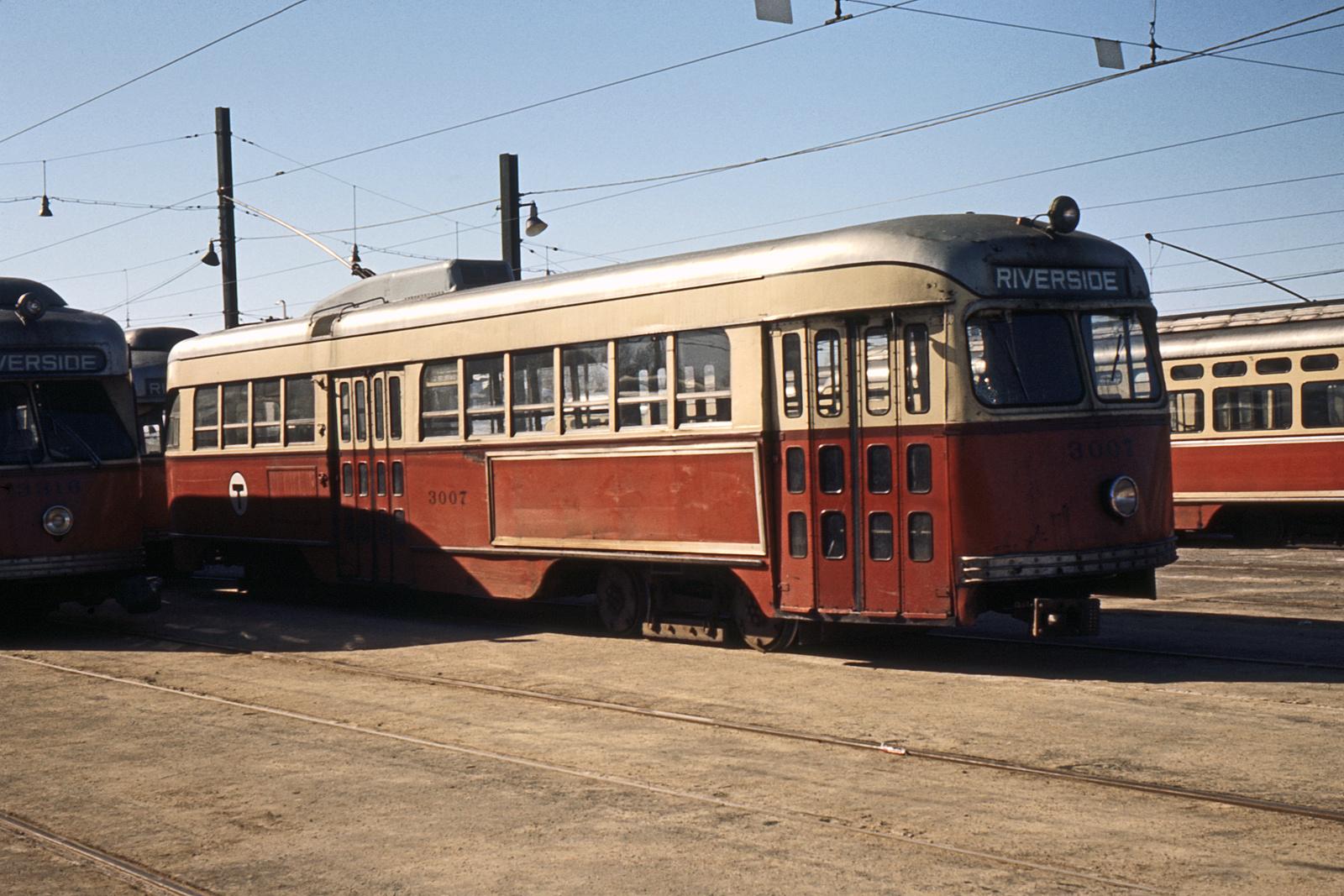 (339k, 1024x683)<br><b>Country:</b> United States<br><b>City:</b> Boston, MA<br><b>System:</b> MBTA<br><b>Line:</b> MBTA Green (D)<br><b>Location:</b> Riverside Yard <br><b>Car:</b> MBTA/BSRy PCC Tremont (Pullman-Standard, 1941)  3007 <br><b>Photo by:</b> Ed Davis, Sr.<br><b>Collection of:</b> David Pirmann<br><b>Date:</b> 2/1966<br><b>Viewed (this week/total):</b> 0 / 1275