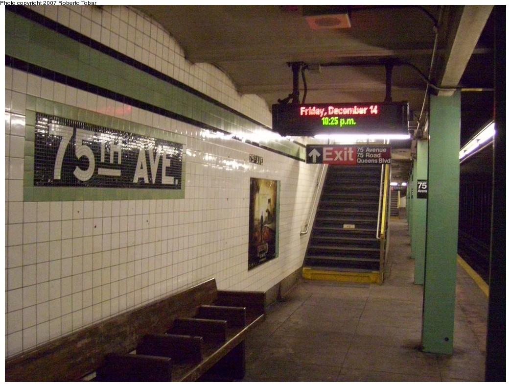 (223k, 1044x790)<br><b>Country:</b> United States<br><b>City:</b> New York<br><b>System:</b> New York City Transit<br><b>Line:</b> IND Queens Boulevard Line<br><b>Location:</b> 75th Avenue <br><b>Photo by:</b> Roberto C. Tobar<br><b>Date:</b> 12/14/2007<br><b>Viewed (this week/total):</b> 1 / 1968