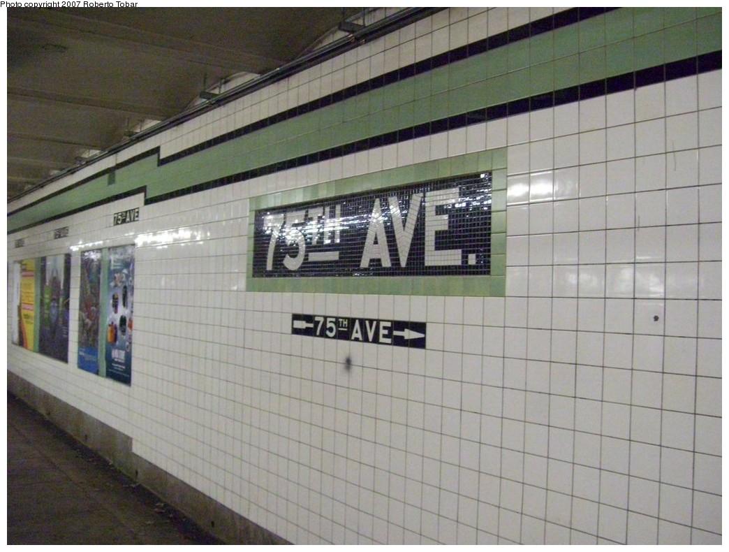 (198k, 1044x790)<br><b>Country:</b> United States<br><b>City:</b> New York<br><b>System:</b> New York City Transit<br><b>Line:</b> IND Queens Boulevard Line<br><b>Location:</b> 75th Avenue <br><b>Photo by:</b> Roberto C. Tobar<br><b>Date:</b> 12/14/2007<br><b>Viewed (this week/total):</b> 0 / 1517