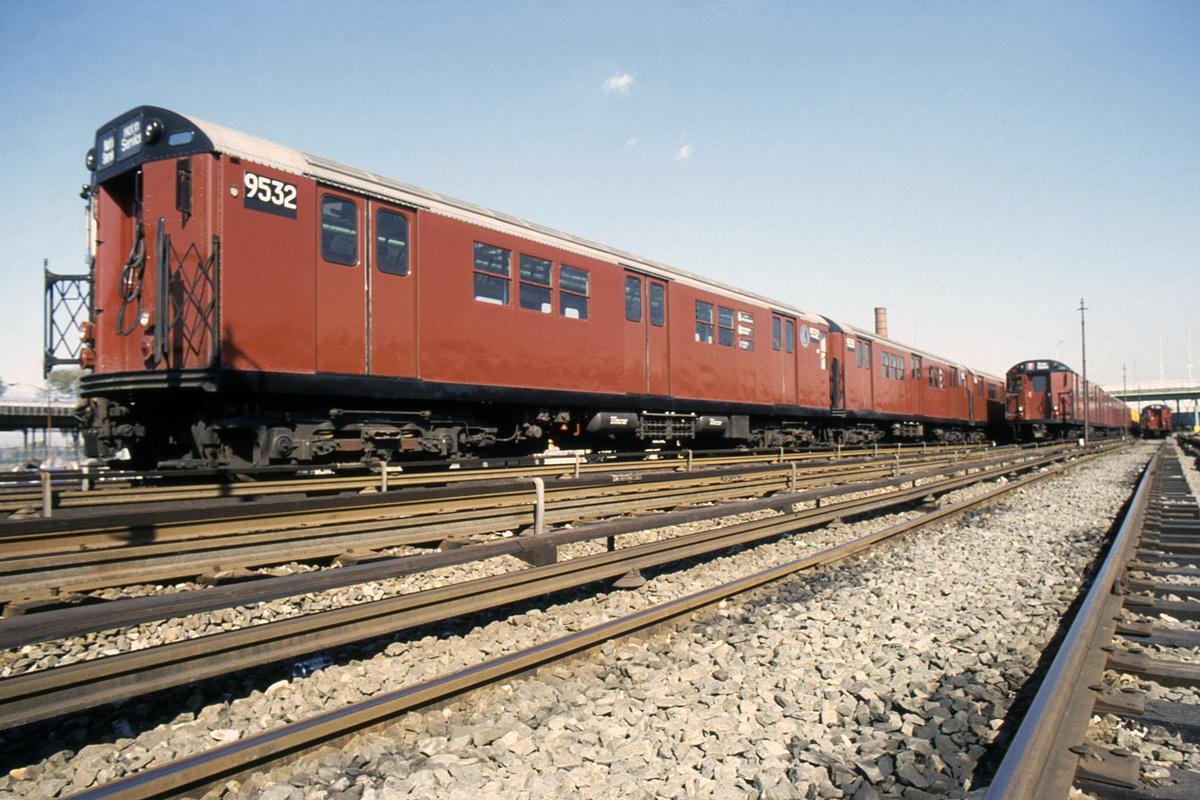 (593k, 1024x683)<br><b>Country:</b> United States<br><b>City:</b> New York<br><b>System:</b> New York City Transit<br><b>Location:</b> Corona Yard<br><b>Car:</b> R-36 Main Line (St. Louis, 1964) 9532 <br><b>Collection of:</b> Collection of nycsubway.org <br><b>Notes:</b> 1980s.<br><b>Viewed (this week/total):</b> 0 / 1523
