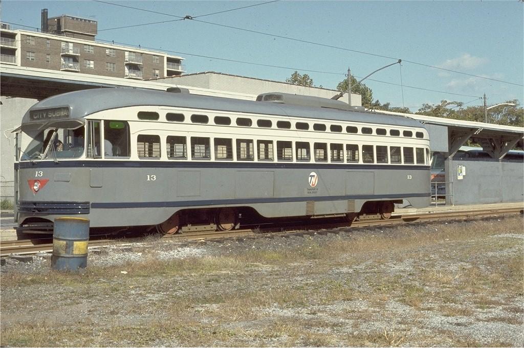 (242k, 1024x681)<br><b>Country:</b> United States<br><b>City:</b> Newark, NJ<br><b>System:</b> Newark City Subway<br><b>Location:</b> Franklin Avenue <br><b>Route:</b> 7-City Subway<br><b>Car:</b> NJTransit/PSCT PCC (Ex-Twin City) (St. Louis Car Co., 1946-1947) 13 <br><b>Photo by:</b> Ed McKernan<br><b>Collection of:</b> Joe Testagrose<br><b>Date:</b> 10/19/1974<br><b>Viewed (this week/total):</b> 1 / 936