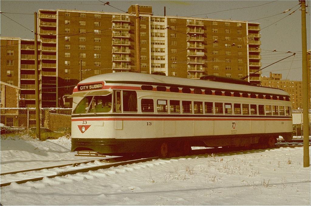 (272k, 1024x677)<br><b>Country:</b> United States<br><b>City:</b> Newark, NJ<br><b>System:</b> Newark City Subway<br><b>Location:</b> Franklin Avenue <br><b>Route:</b> 7-City Subway<br><b>Car:</b> NJTransit/PSCT PCC (Ex-Twin City) (St. Louis Car Co., 1946-1947) 13 <br><b>Photo by:</b> Pete Donner<br><b>Collection of:</b> Joe Testagrose<br><b>Date:</b> 1/1976<br><b>Viewed (this week/total):</b> 1 / 1120