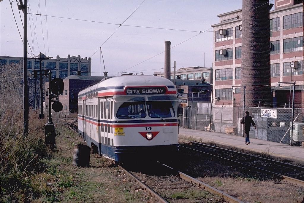 (269k, 1024x685)<br><b>Country:</b> United States<br><b>City:</b> Newark, NJ<br><b>System:</b> Newark City Subway<br><b>Location:</b> Orange Street <br><b>Route:</b> 7-City Subway<br><b>Car:</b> NJTransit/PSCT PCC (Ex-Twin City) (St. Louis Car Co., 1946-1947) 14 <br><b>Photo by:</b> Steve Zabel<br><b>Collection of:</b> Joe Testagrose<br><b>Date:</b> 11/17/1980<br><b>Viewed (this week/total):</b> 0 / 1346