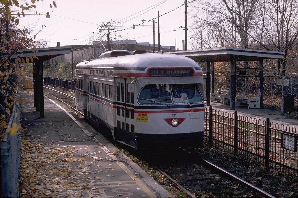 (306k, 1024x682)<br><b>Country:</b> United States<br><b>City:</b> Newark, NJ<br><b>System:</b> Newark City Subway<br><b>Location:</b> Davenport Avenue <br><b>Route:</b> 7-City Subway<br><b>Car:</b> NJTransit/PSCT PCC (Ex-Twin City) (St. Louis Car Co., 1946-1947) 7 <br><b>Photo by:</b> Steve Zabel<br><b>Collection of:</b> Joe Testagrose<br><b>Date:</b> 11/17/1980<br><b>Viewed (this week/total):</b> 0 / 1044