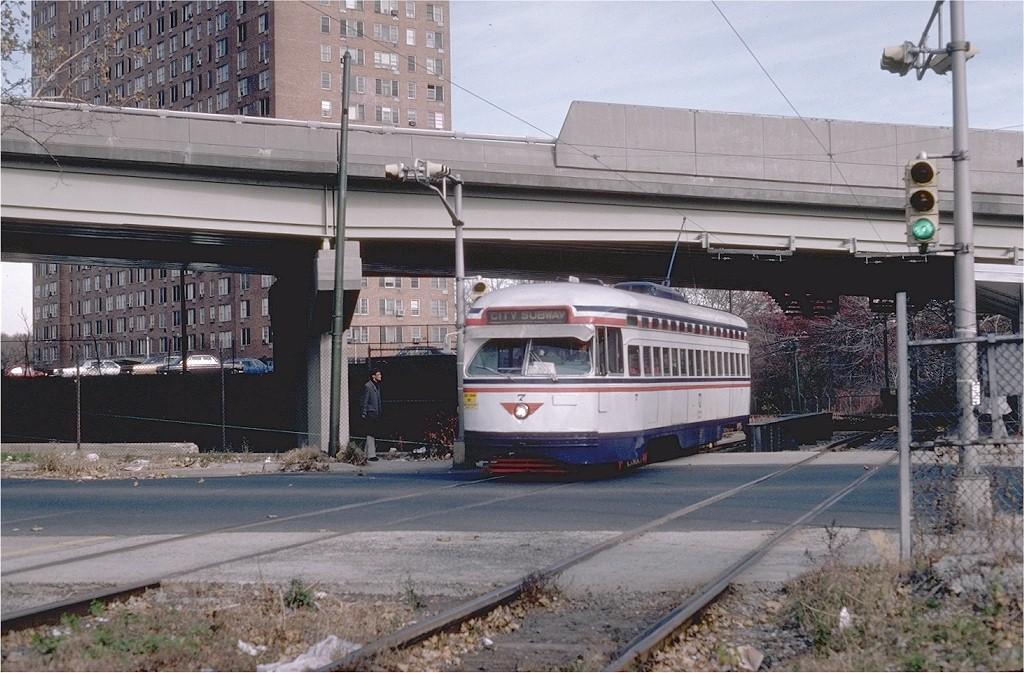 (214k, 1024x673)<br><b>Country:</b> United States<br><b>City:</b> Newark, NJ<br><b>System:</b> Newark City Subway<br><b>Location:</b> Orange Street <br><b>Route:</b> 7-City Subway<br><b>Car:</b> NJTransit/PSCT PCC (Ex-Twin City) (St. Louis Car Co., 1946-1947) 7 <br><b>Photo by:</b> Steve Zabel<br><b>Collection of:</b> Joe Testagrose<br><b>Date:</b> 11/17/1980<br><b>Viewed (this week/total):</b> 0 / 1084